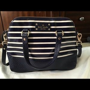 NWT Kate Spade grove court stripe bag (navy/cream)